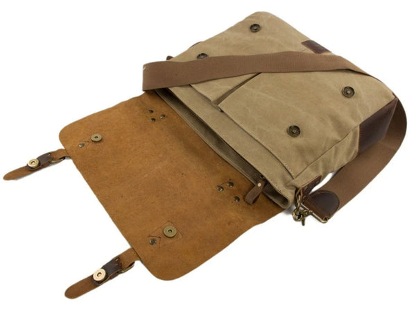 Handmade Waxed Canvas & Leather Satchel Messenger Bag - Khaki/Coffee - Blue Sebe Handmade Leather Bags