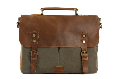Handmade Waxed Canvas & Leather Satchel Messenger Bag - Army Green/Brown - Blue Sebe