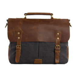 Handmade Waxed Canvas & Leather Satchel Messenger Bag - Dark Grey/Brown - Blue Sebe