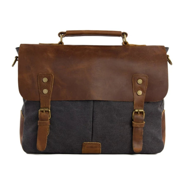 Handmade Waxed Canvas & Leather Satchel Messenger Bag - Dark Grey/Brown - Blue Sebe Handmade Leather Bags