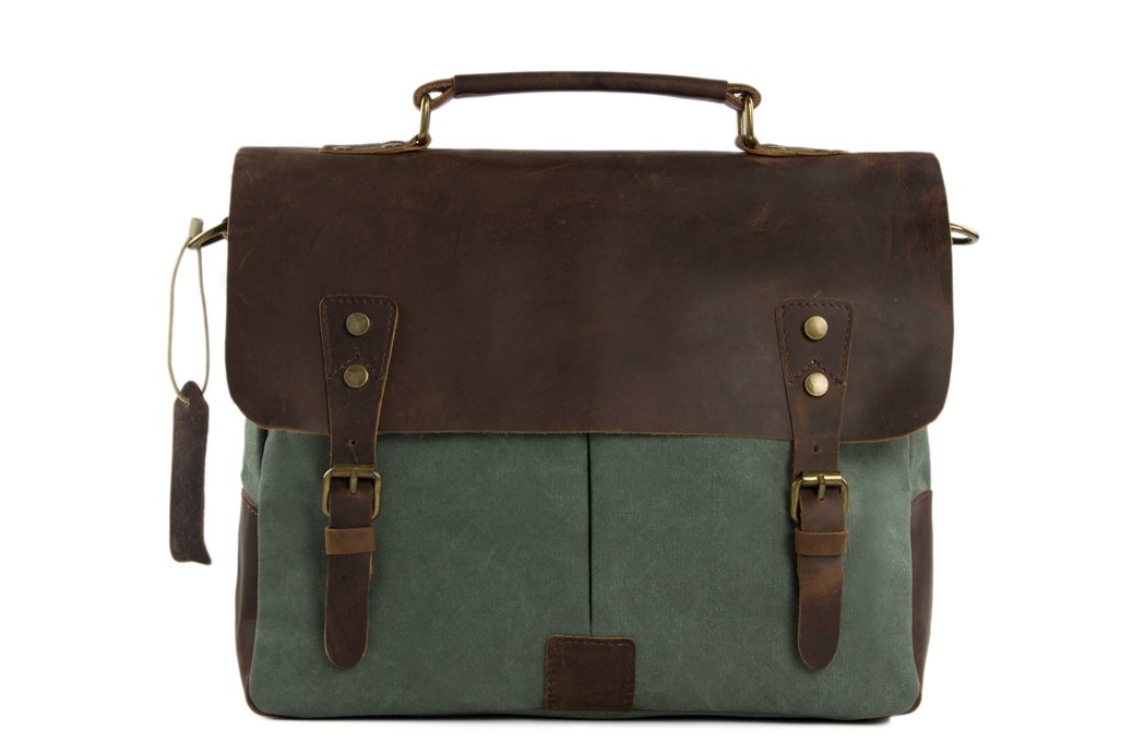 Handmade Waxed Canvas & Leather Satchel Messenger Bag - Olive Green/Coffee - Blue Sebe