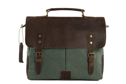 Handmade Waxed Canvas & Leather Satchel Messenger Bag - Olive Green/Coffee - Blue Sebe Handmade Leather Bags