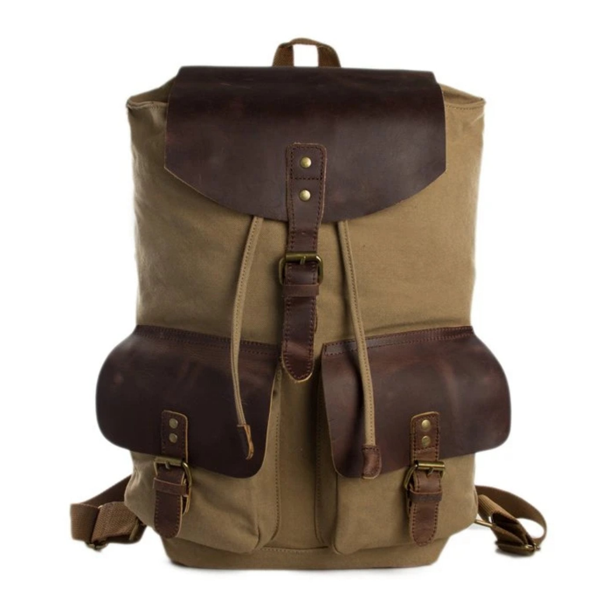 Waxed Canvas and Leather Backpack with Double Pockets - Khaki - Blue Sebe