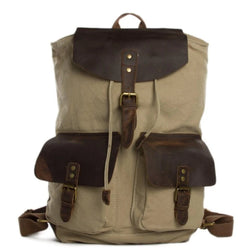 Waxed Canvas and Leather Backpack with Double Pockets - White - Blue Sebe