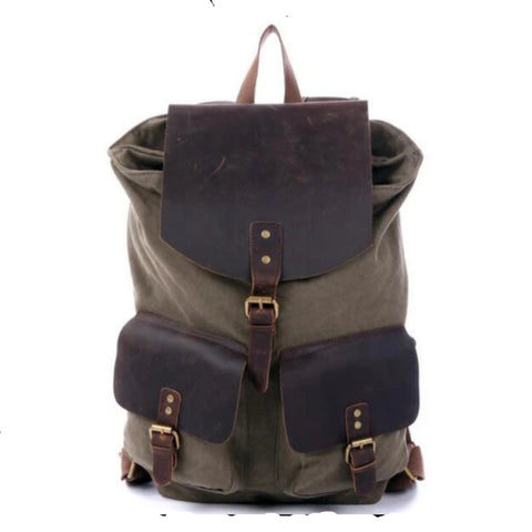Waxed Canvas and Leather Backpack with Double Pockets - Army Green - Blue Sebe