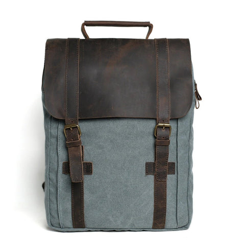 Waxed Canvas and Leather Double strap Backpack - Blue - Blue Sebe