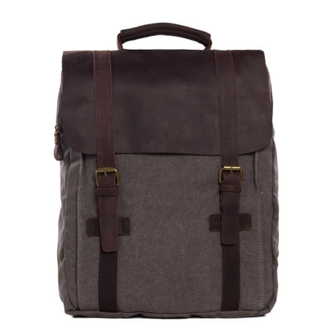 Waxed Canvas and Leather Double strap Backpack - Dark Grey - Blue Sebe