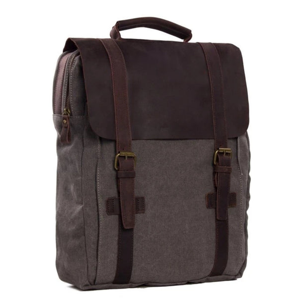 Waxed Canvas and Leather Double strap Backpack - Dark Grey - Blue Sebe Handmade Leather Bags