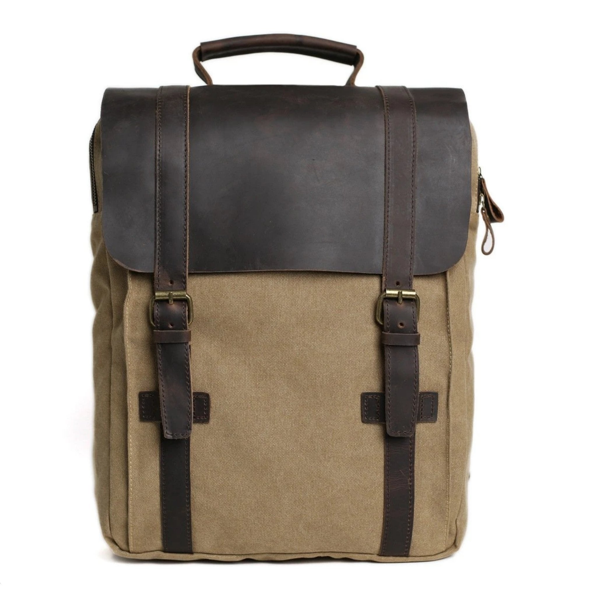 Waxed Canvas and Leather Double Strap Backpack - Khaki - Blue Sebe