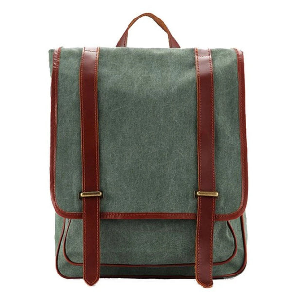 Waxed Canvas with Leather Trim Unisex Backpack - Blue Sebe