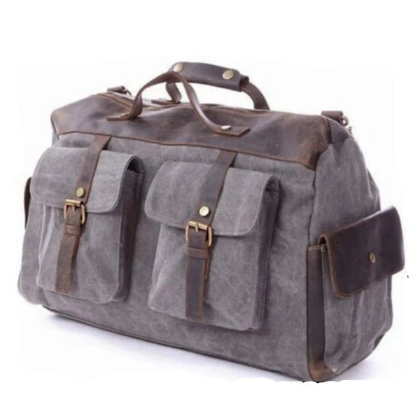 Canvas Leather Travel Messenger Duffel Bag - Blue Sebe Handmade Leather Bags