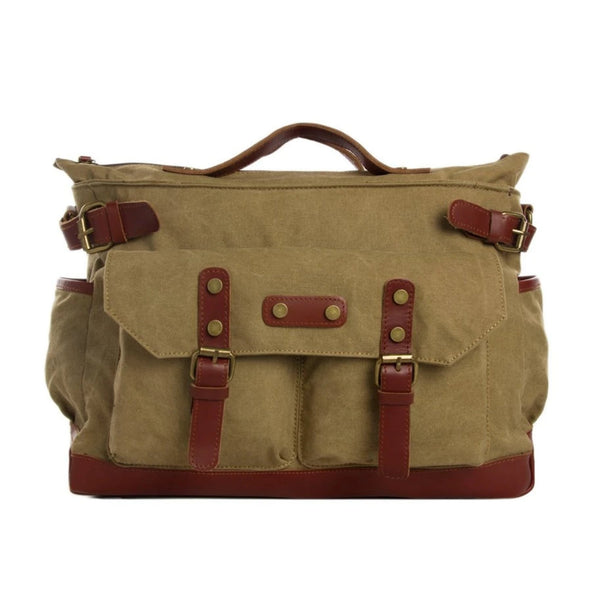 Waxed Canvas with Leather Travel Messenger Bag - Khaki - Blue Sebe