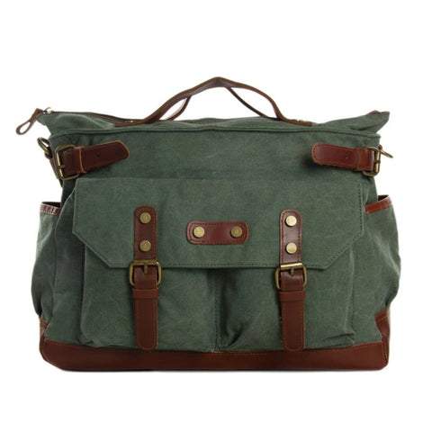 Waxed Canvas with Leather Travel Messenger Bag -  Olive Green - Blue Sebe