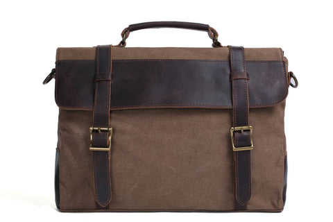 Handmade Waxed Canvas with Leather Briefcase Messenger Bag - Coffee - Blue Sebe