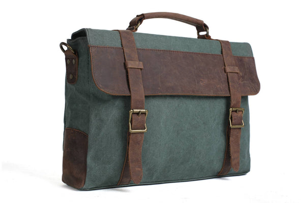 Handmade Waxed Canvas with Leather Briefcase Messenger Bag - Olive Green - Blue Sebe Handmade Leather Bags