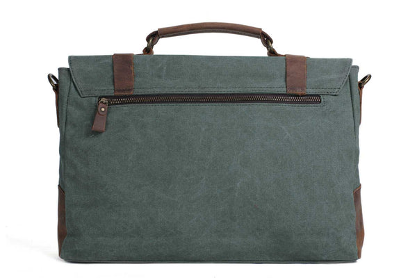 Handmade Waxed Canvas with Leather Briefcase Messenger Bag - Olive Green - Blue Sebe