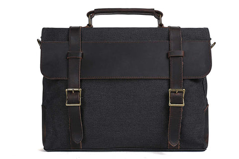 Handmade Waxed Canvas with Leather Briefcase Messenger Bag - Dark Grey - Blue Sebe