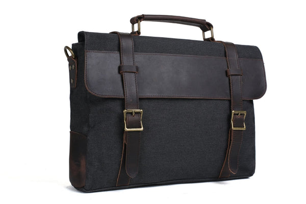 Handmade Waxed Canvas with Leather Briefcase Messenger Bag - Dark Grey - Blue Sebe Handmade Leather Bags