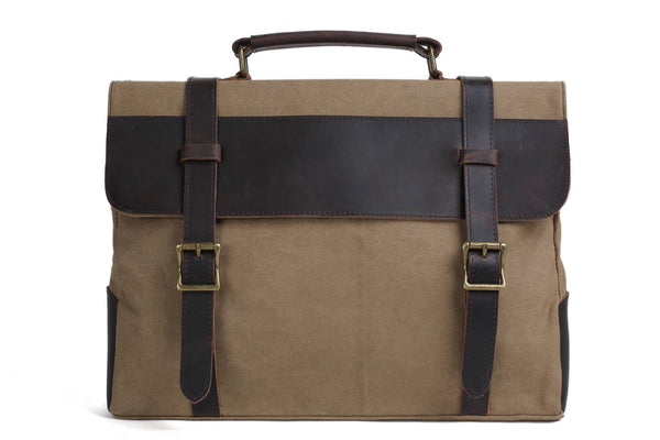 Handmade Waxed Canvas with Leather Briefcase Messenger Bag - Khaki - Blue Sebe Handmade Leather Bags