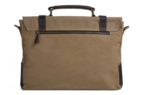Handmade Waxed Canvas with Leather Briefcase Messenger Bag - Khaki - Blue Sebe