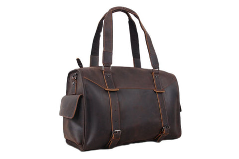 Handmade Large Genuine Leather Travel Handbag | Dark Brown | Free Shipping - Blue Sebe