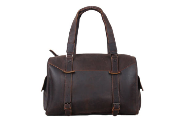 Handmade Large Genuine Leather Travel Handbag | Dark Brown | Free Shipping - Blue Sebe Handmade Leather Bags