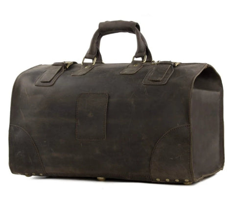 Vintage Genuine Leather Extra Large Travel Bag | Dark Brown - Blue Sebe Handmade Leather Bags