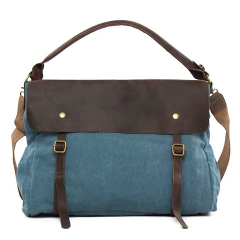 Waxed Canvas Large Messenger Shoulder Bag | Blue - Blue Sebe Handmade Leather Bags