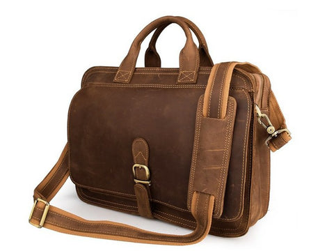 Handmade Vintage Style Full Grain Leather Large Satchel - Brown - Blue Sebe Handmade Leather Bags