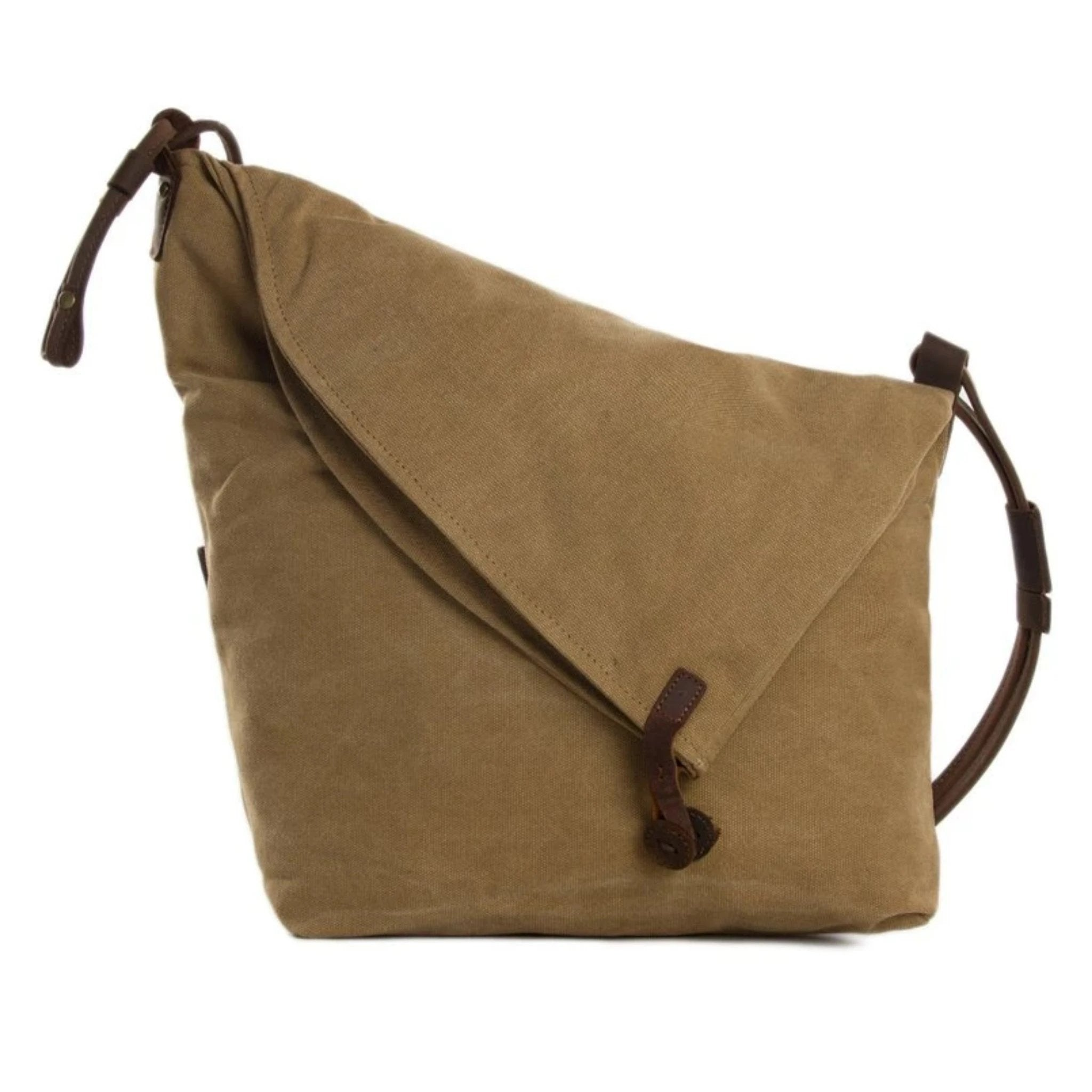 Waxed Canvas with Leather Strap Sling Bag - Khaki - Blue Sebe Handmade Leather Bags