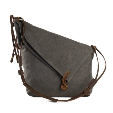 Waxed Canvas with Leather Strap Sling Bag - Dark Grey - Blue Sebe