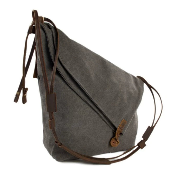 Waxed Canvas with Leather Strap Sling Bag - Dark Grey - Blue Sebe Handmade Leather Bags