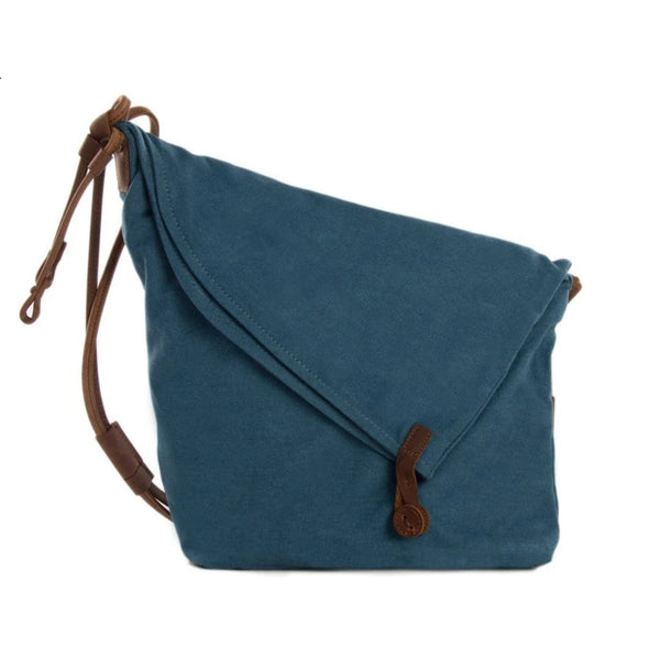 Waxed Canvas with Leather Strap Sling Bag - Blue - Blue Sebe