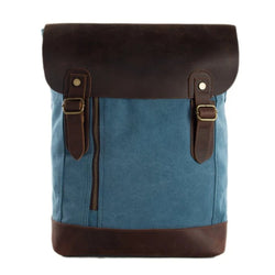 Waxed Canvas and Leather Casual Backpack - Blue - Blue Sebe