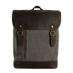 Waxed Canvas and Leather Casual Backpack - Dark Grey - Blue Sebe