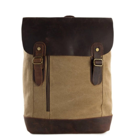Waxed Canvas and Leather Casual Backpack - Khaki - Blue Sebe