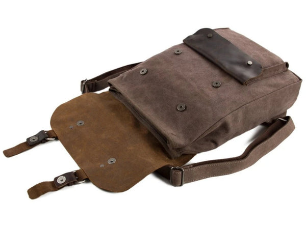 Waxed Canvas and Leather Backpack with Front Pocket - Coffee - Blue Sebe