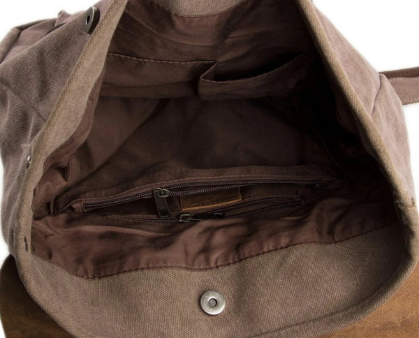 Waxed Canvas and Leather Backpack with Front Pocket - Coffee - Blue Sebe Handmade Leather Bags