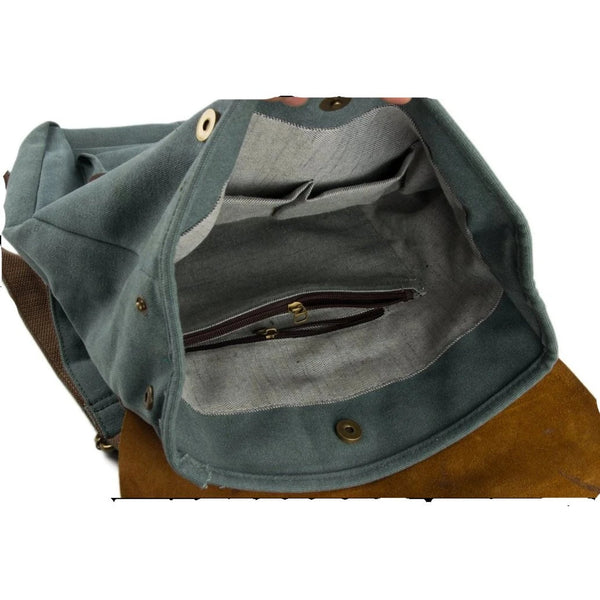 Waxed Canvas and Leather Backpack with Front Pocket - Olive Green - Blue Sebe