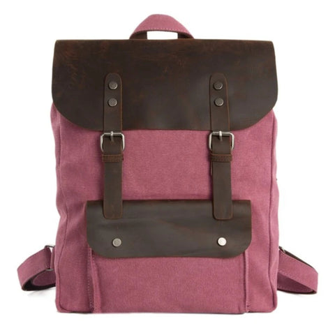 Waxed Canvas and Leather Backpack with Front Pocket - Pink - Blue Sebe