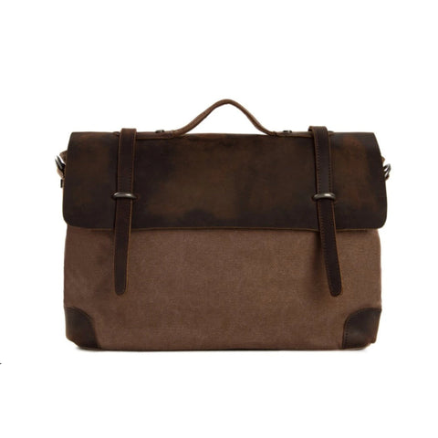 Waxed Canvas Leather Satchel Messenger Bag - Coffee/Coffee - Blue Sebe