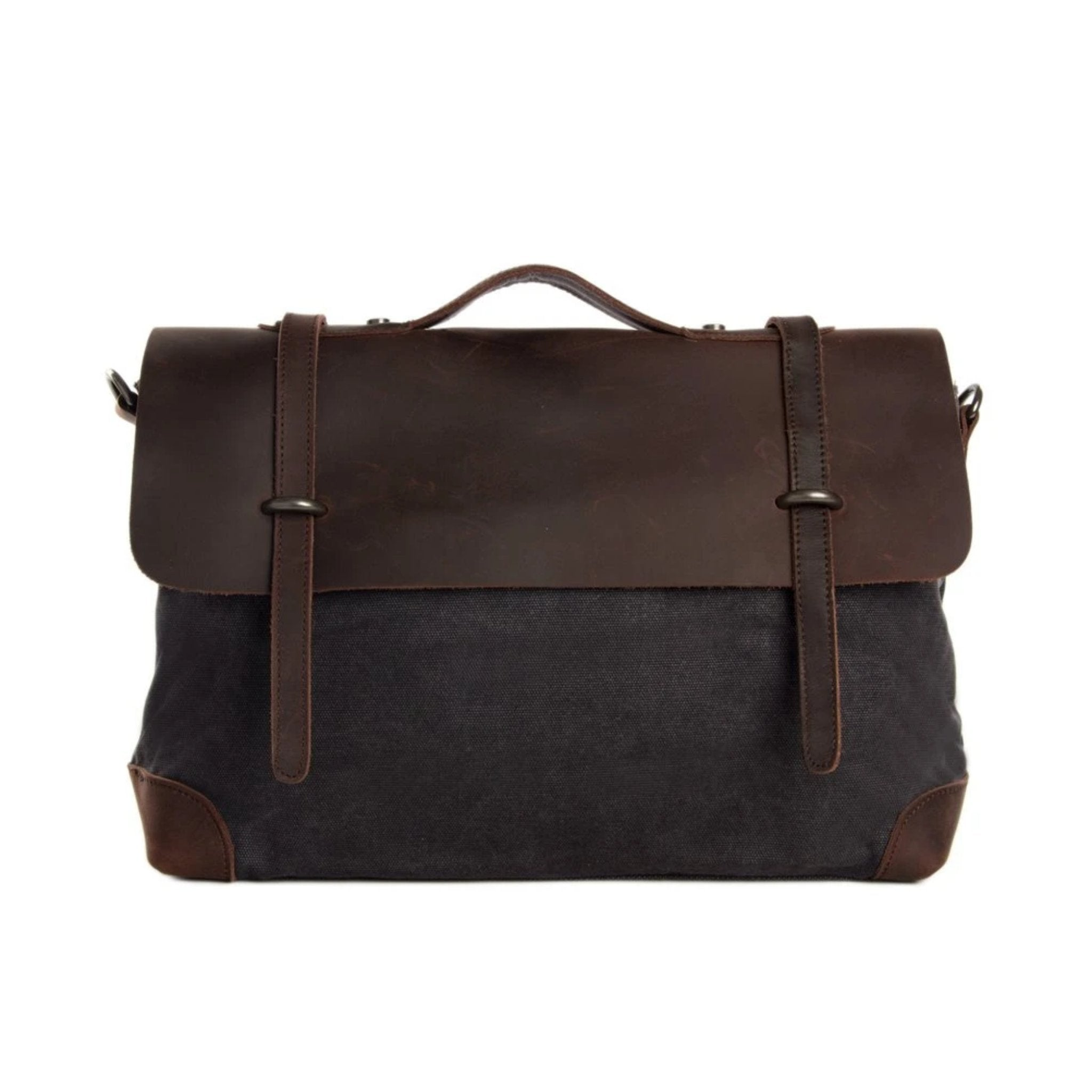 Waxed Canvas Leather satchel Messenger Bag - Dark Grey/Coffee - Blue Sebe