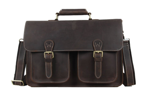 Handmade Vintage Genuine Leather Satchel Bag - Dark Brown - Blue Sebe Handmade Leather Bags