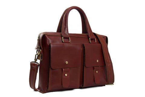 Handmade Vintage Genuine Leather Unisex Satchel | Reddish Brown - Blue Sebe Handmade Leather Bags