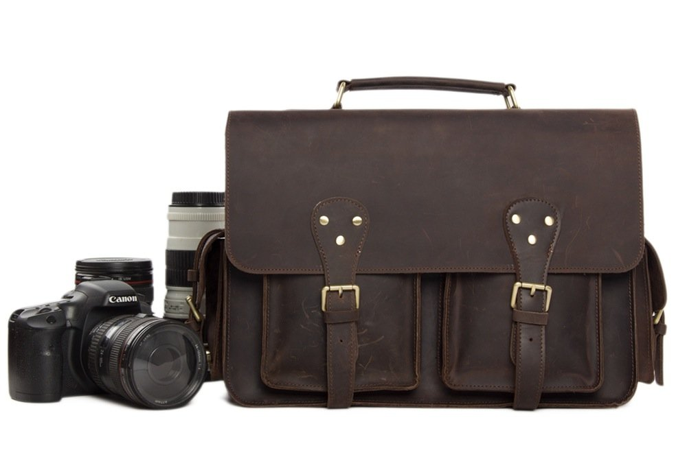 Handmade Rustic Leather Satchel Messenger DSLR Camera Bag - Blue Sebe