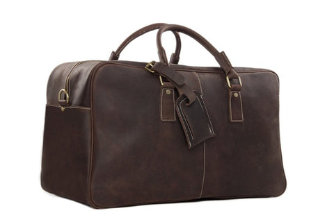 Handmade Leather Holdall Travel Duffel Bag - Dark Brown - Blue Sebe