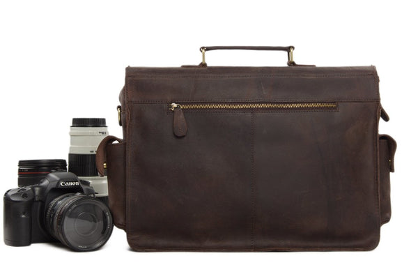 Handmade Vintage & Rustic Leather DSLR Camera Satchel - Dark Brown - Blue Sebe Handmade Leather Bags