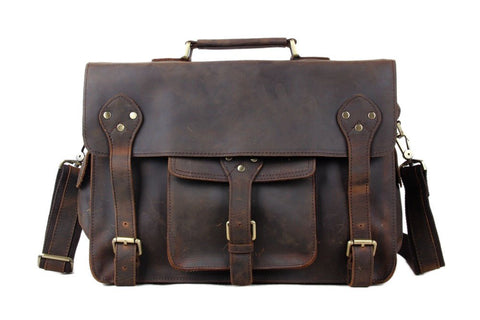 Handmade Vintage & Rustic Leather Satchel - Dark Brown - Blue Sebe
