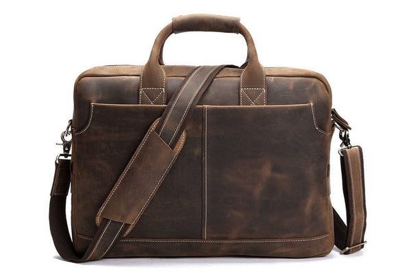 Handmade Vintage Leather Satchel Laptop Bag - Dark Brown - Blue Sebe