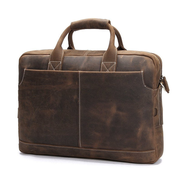 Handmade Vintage Leather Satchel Laptop Bag - Dark Brown - Blue Sebe Handmade Leather Bags